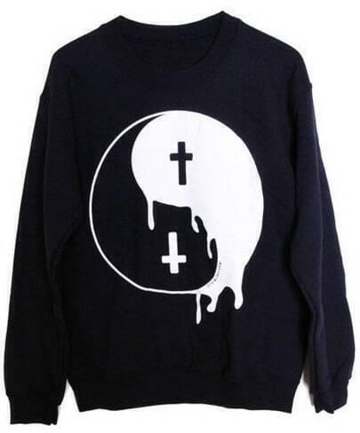 Black Long Sleeve Tai Ji Pattern Sweatshirt