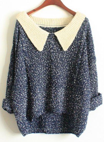 Navy Long Sleeve Lapel Loose Sweater