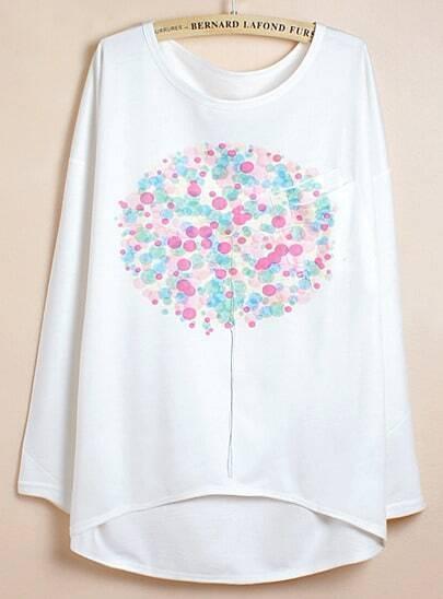 White Batwing Sleeve Dandelion Print Dipped Hem T-Shirt