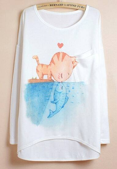 White Batwing Sleeve Cat Fish Animal Print Dipped Hem T-Shirt