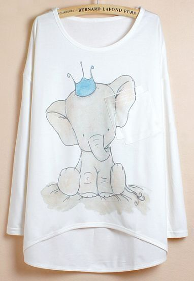 White Batwing Sleeve Elephants Print Dipped Hem T-Shirt