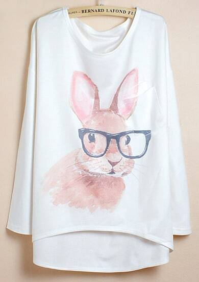 White Batwing Sleeve Glasses Rabbit Print Dipped Hem T-Shirt