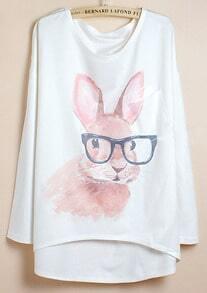 White Batwing Sleeve Glasses Rabbit Print Dipped Hem T-Shirt