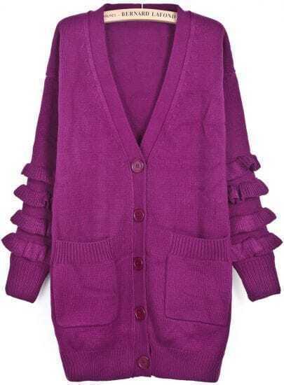 Purple V Neck Long Sleeve Ruffle Pockets Cardigan
