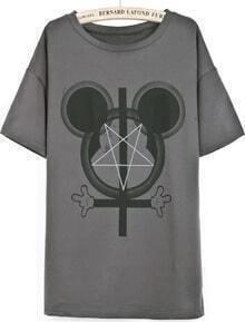 Dark Coffee Short Sleeve Mickey Cross Print T-Shirt