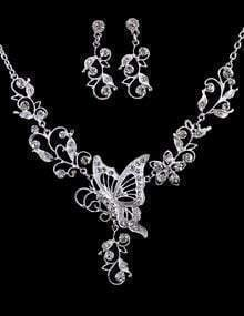 Silver Diamond Butterfly Necklace With Earrings