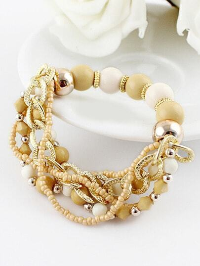 Yellow Bead Gold Chain Bracelet