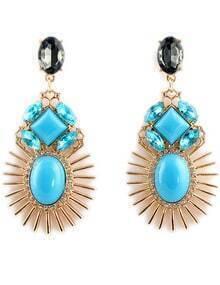 Blue Gemstone Gold Diamond Sun Earrings