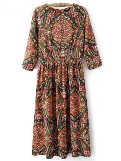 Khaki Round Neck Vintage Floral Pleated Dress