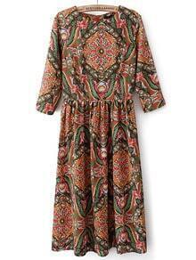 Khaki Round Neck Vintage Floral Pleated Dress