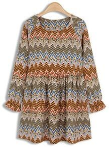 Khaki Long Sleeve Vintage Zigzag Print Pleated Dress