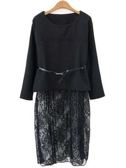 Black Long Sleeve Contrast Sheer Lace Dress