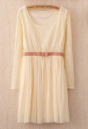 Beige Long Sleeve Lace Contrast Bow Pleated Dress