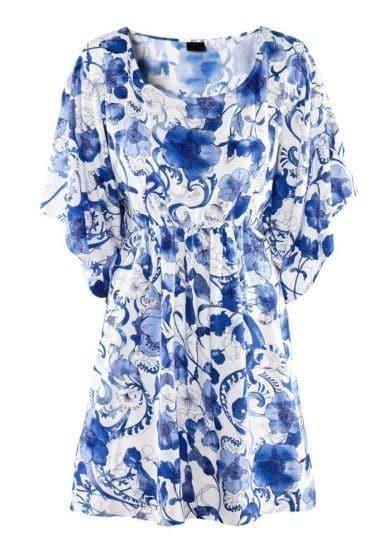 Blue Short Sleeve Drawstring Floral Print Dress