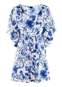 Blue Short Sleeve Drawstring Floral Print Dress