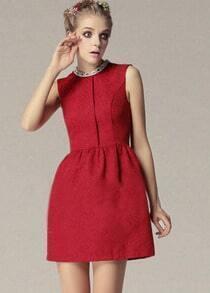 Red Sleeveless Vintage Pattern Dress