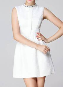 White Sleeveless Vintage Pattern Dress