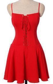 Red Sleeveless Drawstring Dress