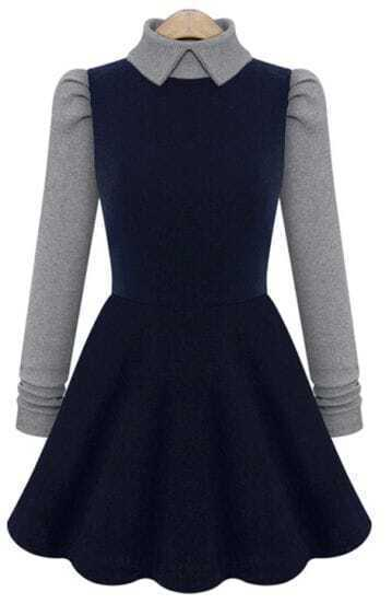Navy Contrast Grey Sleeve Lapel Dress