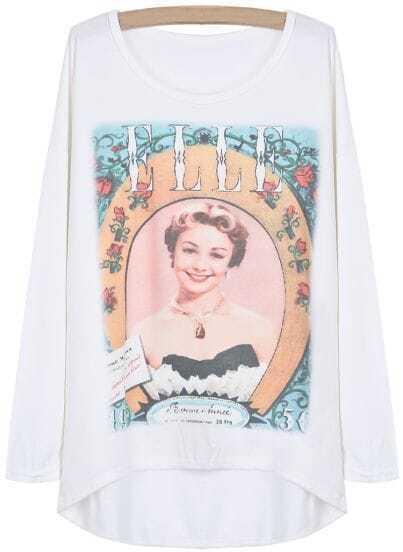 Camiseta guapa manga muriciélago-blanco