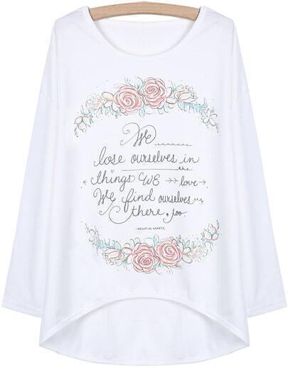 White Batwing Sleeve Floral Letters Print Dipped Hem T-Shirt