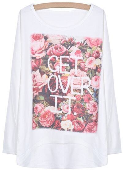 White Batwing Sleeve Floral Letters Dipped Hem T-Shirt