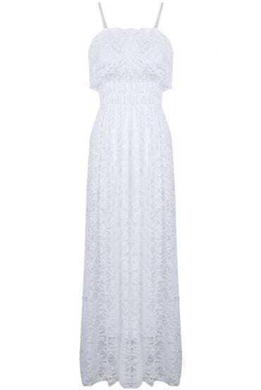 White Spaghetti Strap Pleated Lace Dress