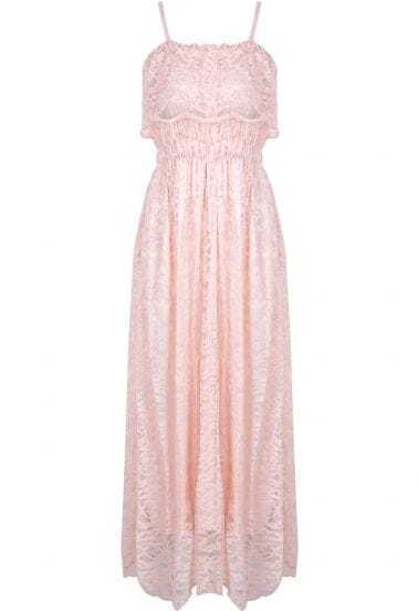 Pink Spaghetti Strap Pleated Lace Dress