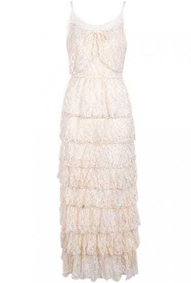 Apricot Spaghetti Strap Cascading Ruffle Lace Dress