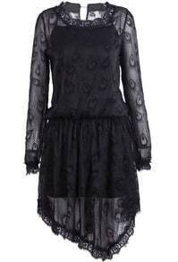 Black Long Sleeve Peacock Feathers Lace Dress
