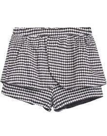 Black White Houndstooth Woolen Shorts