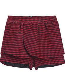 Red Black Houndstooth Woolen Shorts
