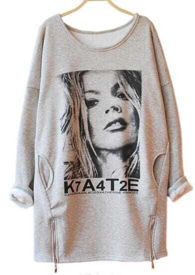 Grey Long Sleeve Portrait Print Side Zipper Sweatshirt