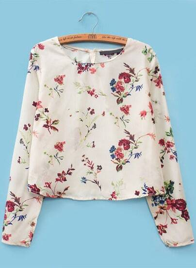 White Long Sleeve Floral Chiffon Crop Blouse