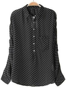 Black Batwing Long Sleeve Polka Dot Blouse