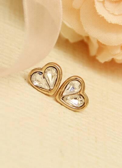 Gold Diamond Heart Stud Earrings