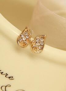 Gold Diamond Wing Stud Earrings