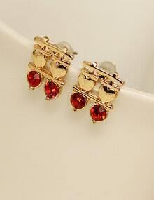 Red Diamond Gold Double Happiness Earrings