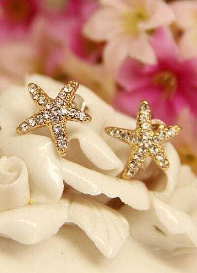 Gold Diamond Starfish Stud Earrings