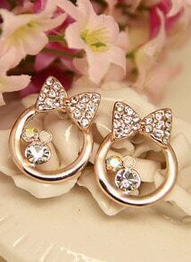 Gold Diamond Bow Circle Stud Earrings