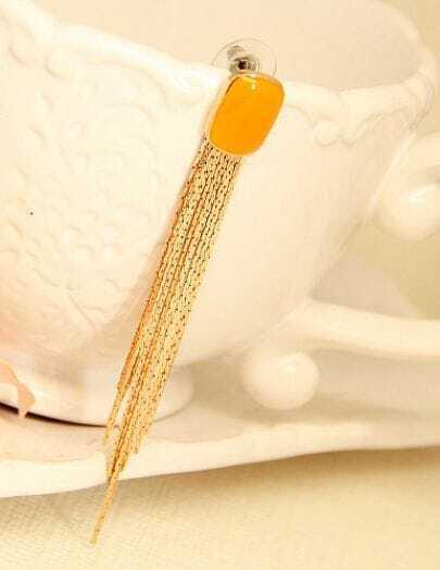 Yellow Glaze Gold Chain Tassel Earrings