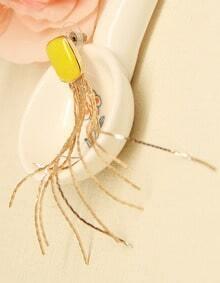 Orange Glaze Gold Chain Tassel Earrings