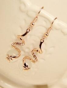 Gold Diamond Spiral Dangle Earrings