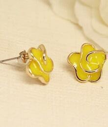 Yellow Glaze Gold Flower Stud Earrings