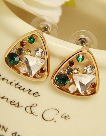 Gold Diamond Triangle Stud Earrings
