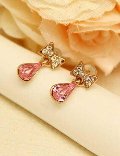 Red Drop Gemstone Gold Diamond Bow Earrings
