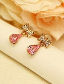 Red Drop Gemstone Gold Diamond Bow Earrings