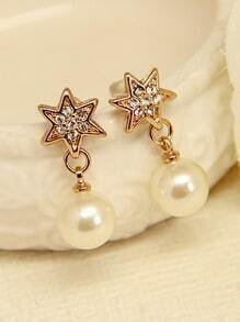 Gold Pearl Diamond Stars Earrings