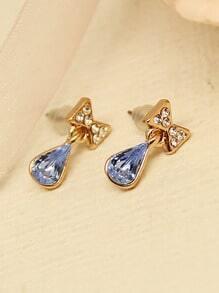 Blue Drop Gemstone Gold Diamond Bow Earrings