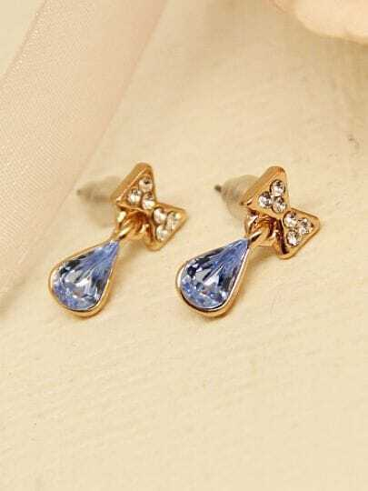 Blue Drop Gemstone Gold Diamond Bow Earrings